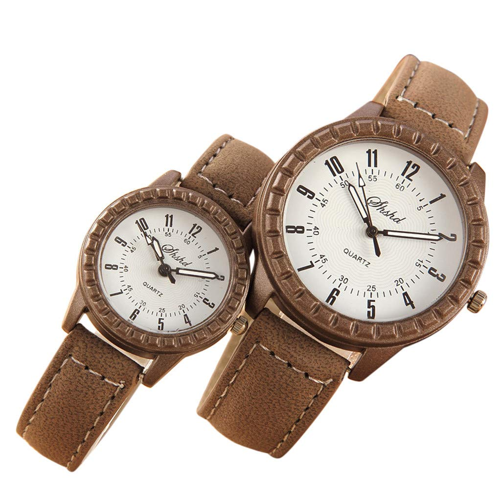 XBKPLO 2019 New Quartz Watches for Lover's Couple Analog Wrist Delicate Fashion Concise Valentine's Day Present (Brown)