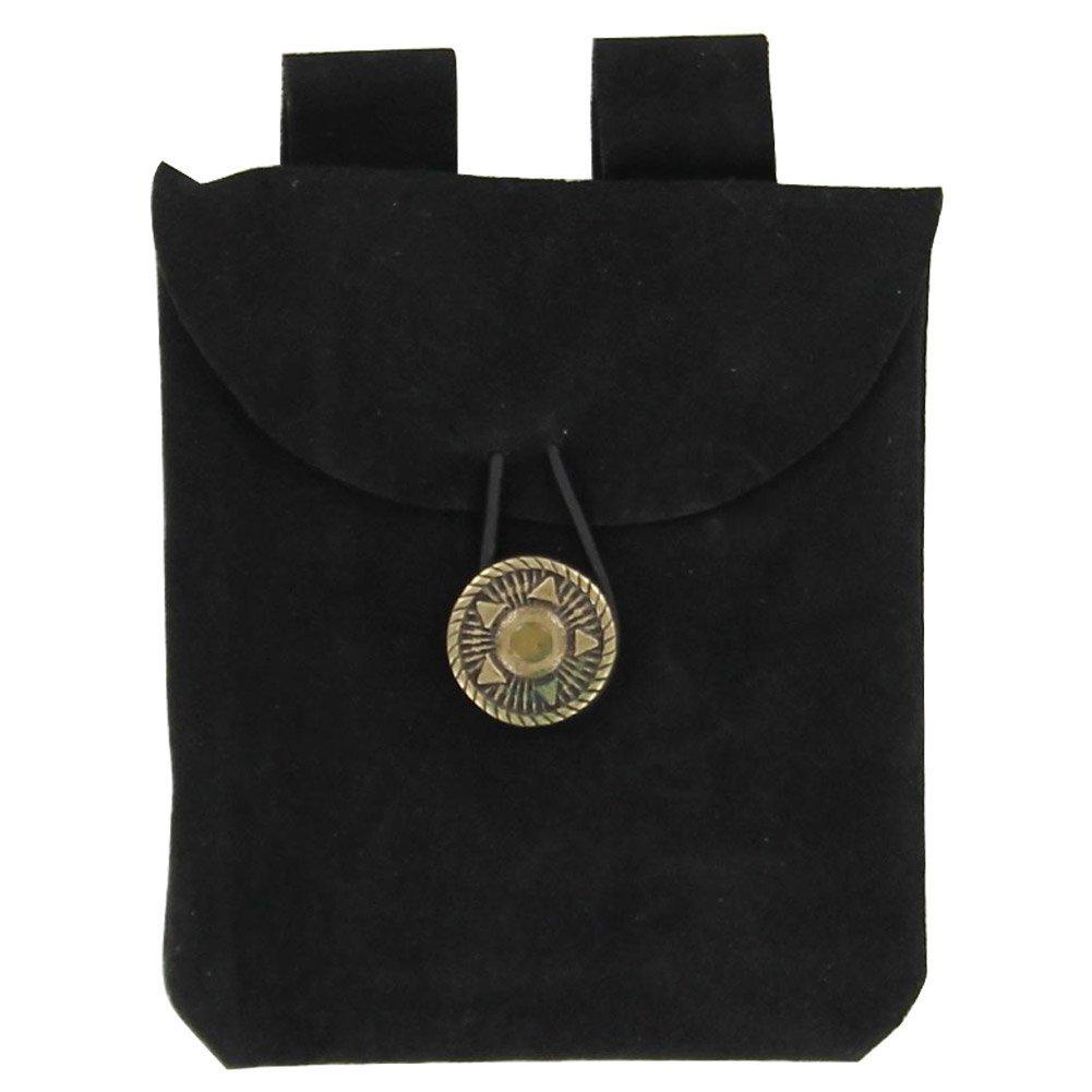 Small Medieval Renaissance Black Suede Leather Belt Pouch
