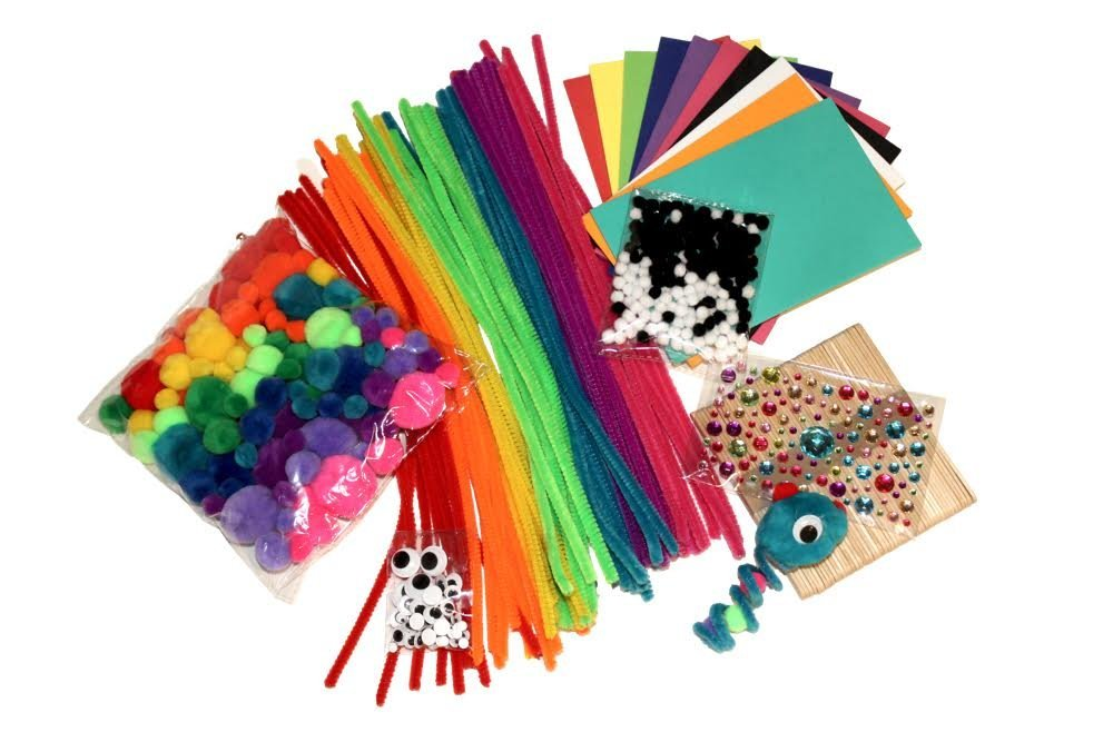 Tin Roof Crafts Creative Crafts 580 Count Including Pipe Cleaners, Pom Poms, Foam Paper, Googly Eyes, Crafts Sticks and BONUS envelope