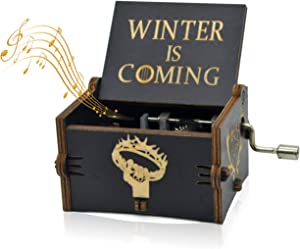 Sooharic Game of Thrones Music Box- 18 Note Mechanism Antique Carved Music Box Crafts GOT Fans (Game of Thrones(Black))
