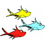 Eureka Back to School Dr. Seuss One Fish, Two Fish Paper Cut Out Classroom Decorations, 36 pc, 5.5'' W x 5.5'' H