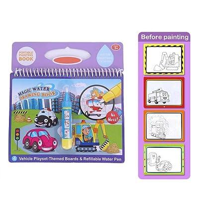 Libro de Dibujo acuático, Libro portátil Colorear con Agua mágica portátil lápiz mágico Libro Dibujo con Agua niños pequeños Regalo Juguete niños(vehículo): Bebé