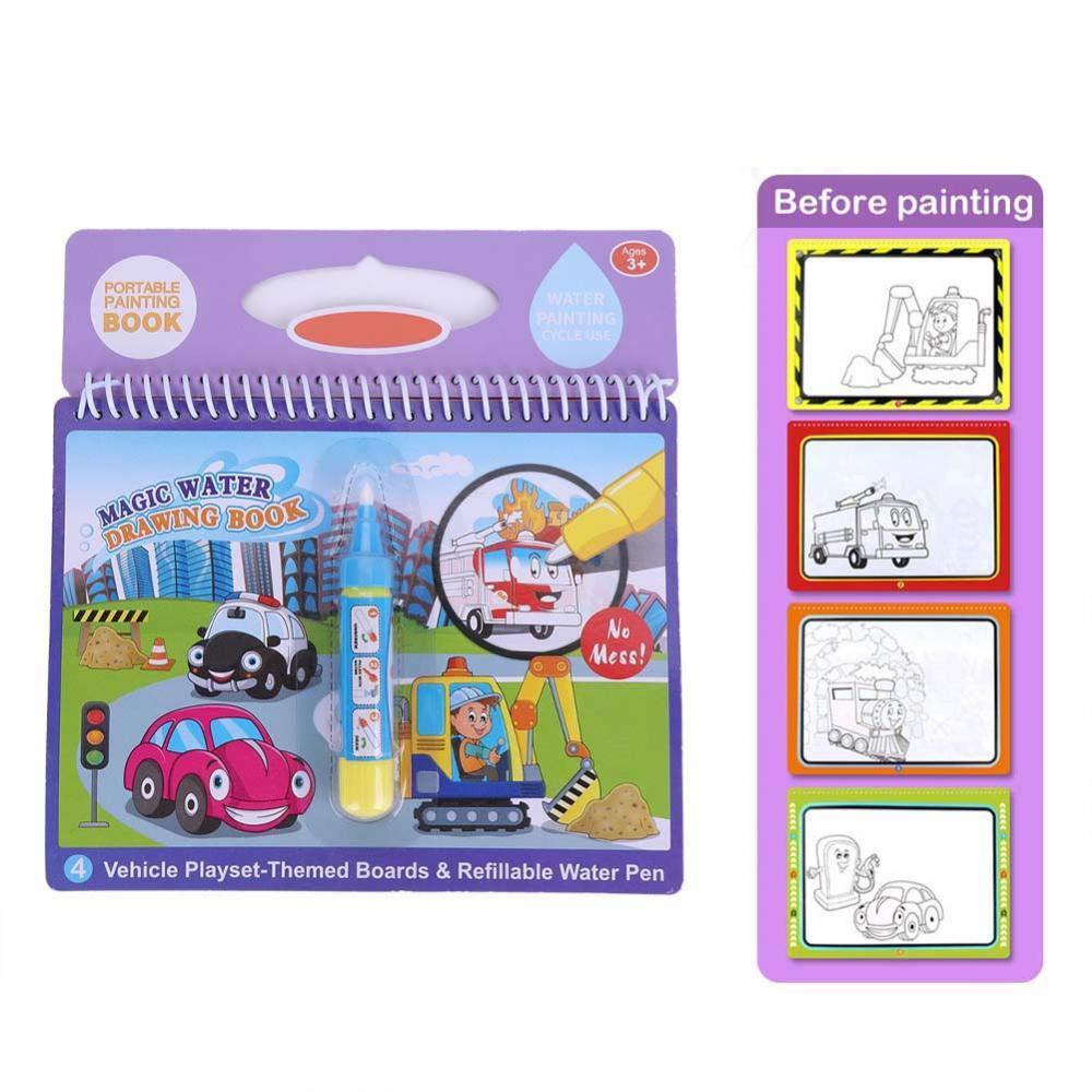 GLOGLOW Libro de Dibujo acuático, Libro portátil Colorear con Agua mágica portátil lápiz mágico Libro Dibujo con Agua niños pequeños Regalo Juguete ...