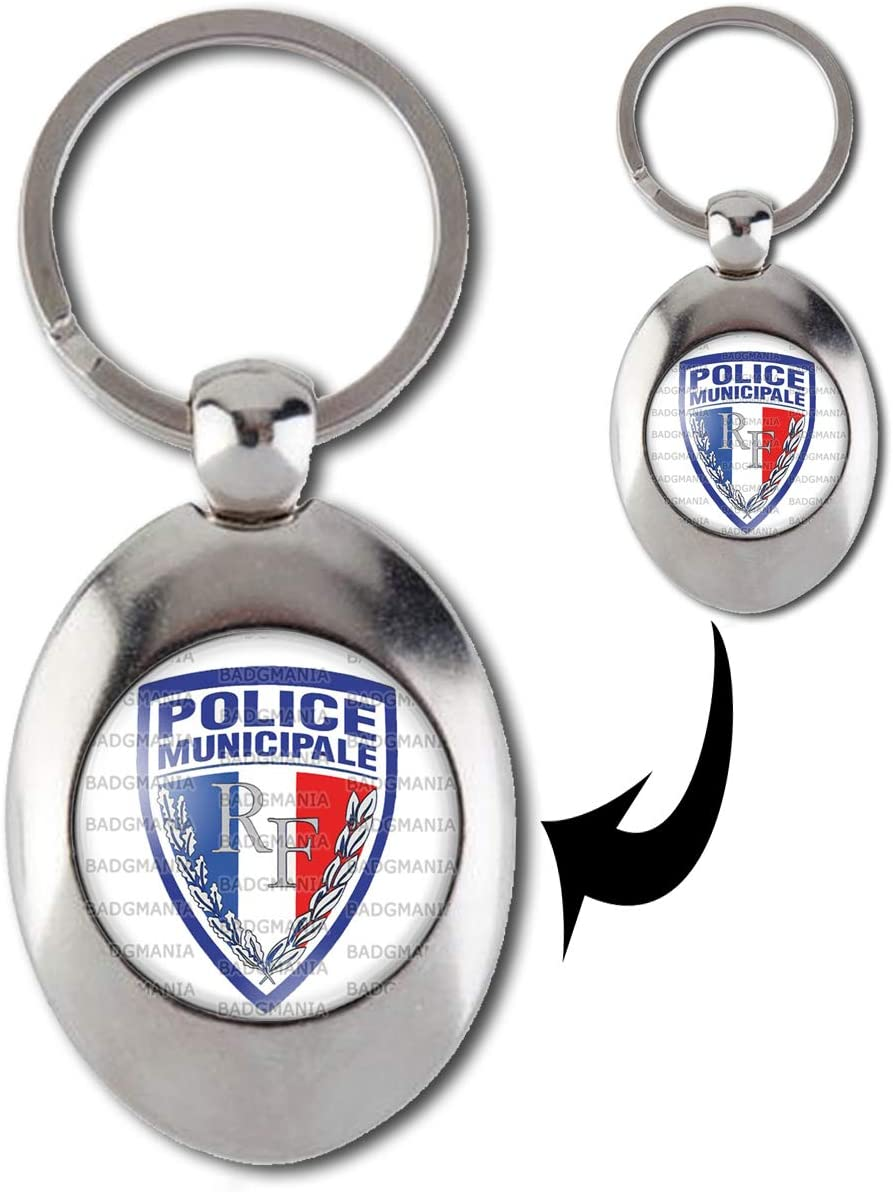 Accessoires Badgmania Porte Cles Metal 2 Faces Ecusson Police Municipale Bagages Hotelaomori Co Jp