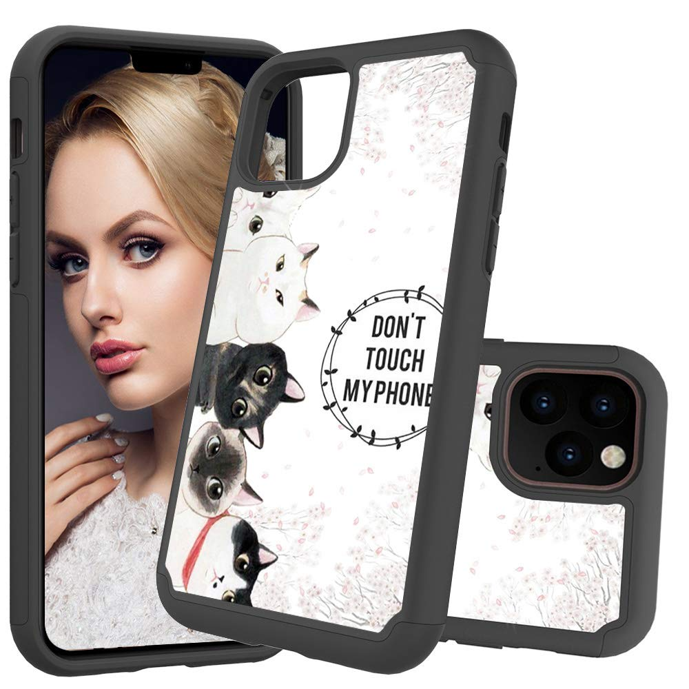 iPhone 11 Pro (iPhone 2019 5.8 Inch) Case, Futanwei 2 Layer Heavy Duty Shock Resistant Hybrid Armor Cute Beautiful Painted Defender Phone Case for Apple iPhone 11 Pro 2019, Kittens by Futanwei