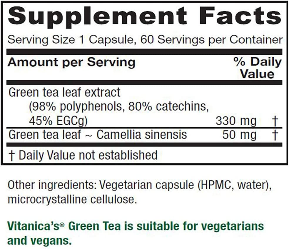 Vitanica, Green Tea, Vegan, 60 Capsules