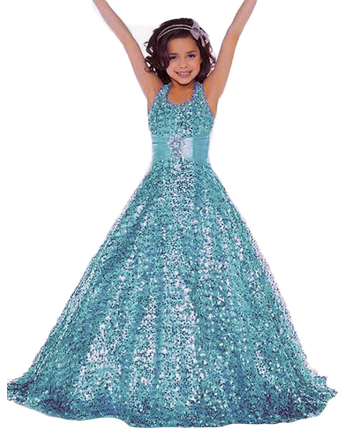 Amazon.com: Lisa Gold Sequin Pageant Dress Long Flower Girl ...
