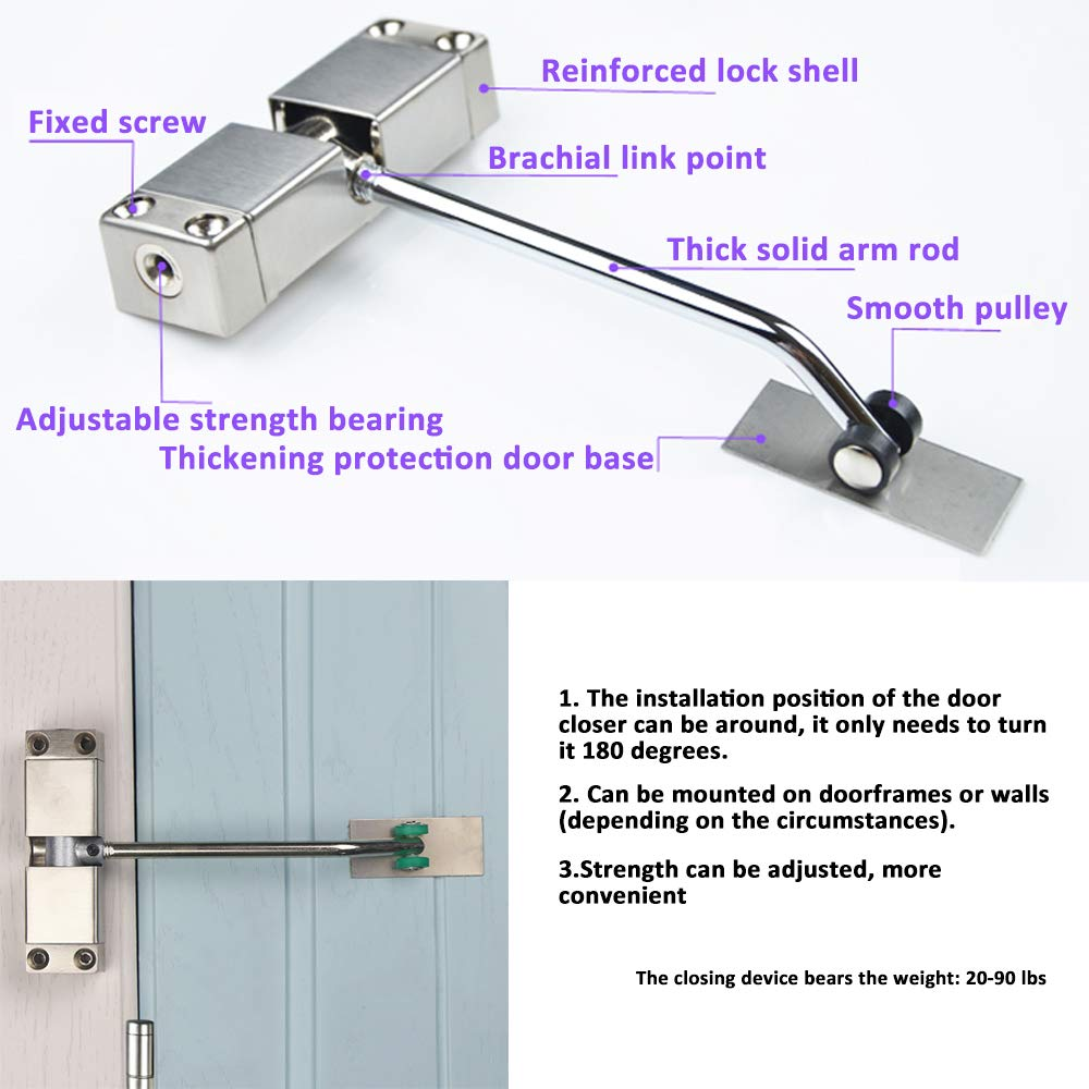 SIXDEFLY Automatic Mounted Spring Door Closer Stainless Steel Adjustable Surface Self Closing for Residential/Commercial Use by SIXDEFLY (Image #2)