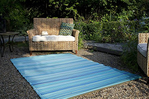 Fab Habitat Reversible Rugs | Indoor or Outdoor Use | Stain Resistant, Easy to Clean Weather Resistant Floor Mats | Cancun - Turquoise & Moss Green, (6' x 9') ()