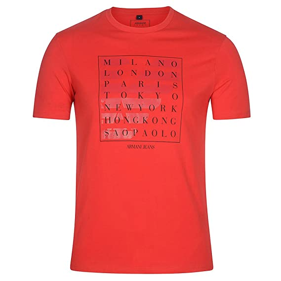 innovative design 54a55 a6c14 T-Shirt Uomo Armani Jeans Rosso: Amazon.co.uk: Clothing