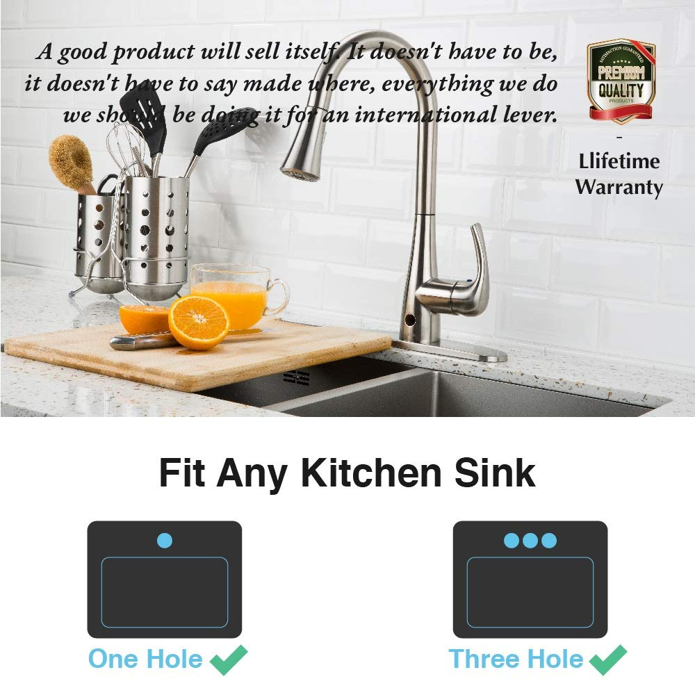 Touchless Kitchen Faucet with Pull Down Sprayer, Kitchen Sink Faucet with Pull Out Sprayer, Single Hole and 3 Hole Deck Mount, Single Handle For Automatic Motion Sensor, Brushed Nickel, FORIOUS by FORIOUS (Image #6)