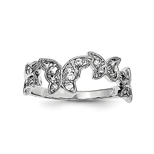 Sterling Silver Rhodium Plated Polished Butterfly Synthetic CZ Ring