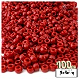 The Crafts Outlet 100-Piece Plastic Round Opaque Pony Beads, 9 by 6mm, Red
