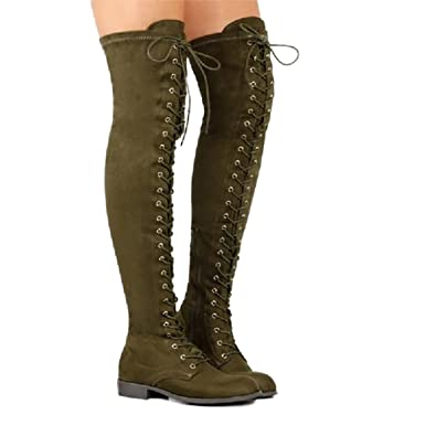 9c663cc42d8 Inornever Women s Over The Knee Pull On Boots Thigh High Low Heel Faux  Suede Lace Up