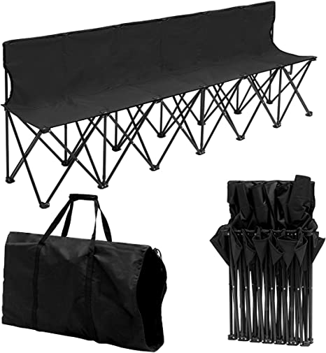 Yaheetech 6 Seats Foldable Sideline Bench with Back for Sports Team Camping Folding Bench Chairs Blue//Black