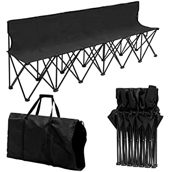 Phenomenal Giantex Portable Folding 6 Seats Chair Sideline Bench W Seat Backs Carry Bag Sports Team Camping Dailytribune Chair Design For Home Dailytribuneorg