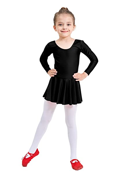 b0e31b424a29 Amazon.com  Ensnovo Girls  Spandex Long Sleeve Ballet Dress Toddler ...