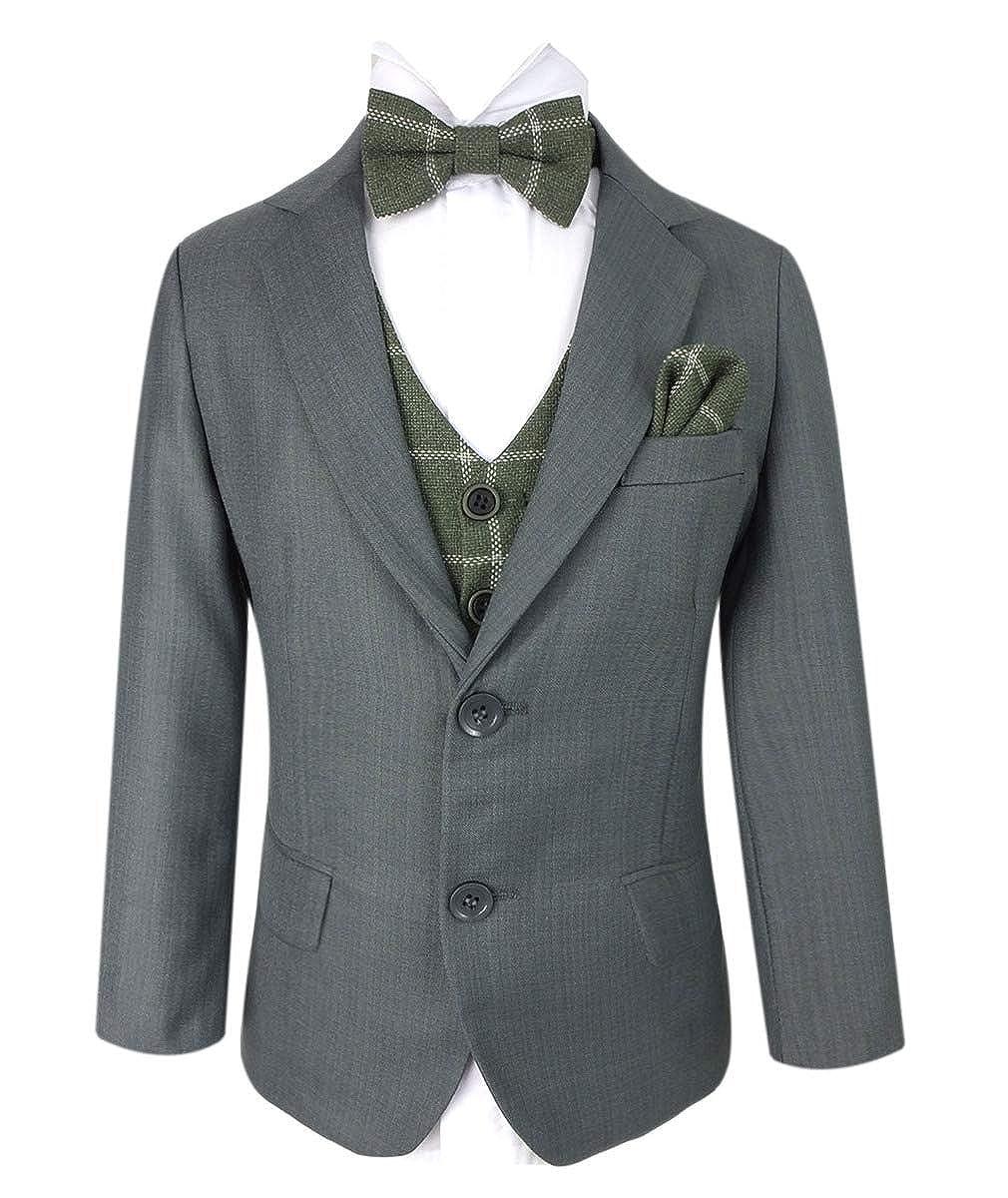 Boys Cavani Slim Fit Ivory Grey Suit Set Pageboy Wedding Prom Party Communion