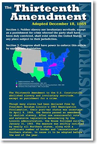 U.S. Reconstruction - 13th Amendment - Civil War History Classroom Poster