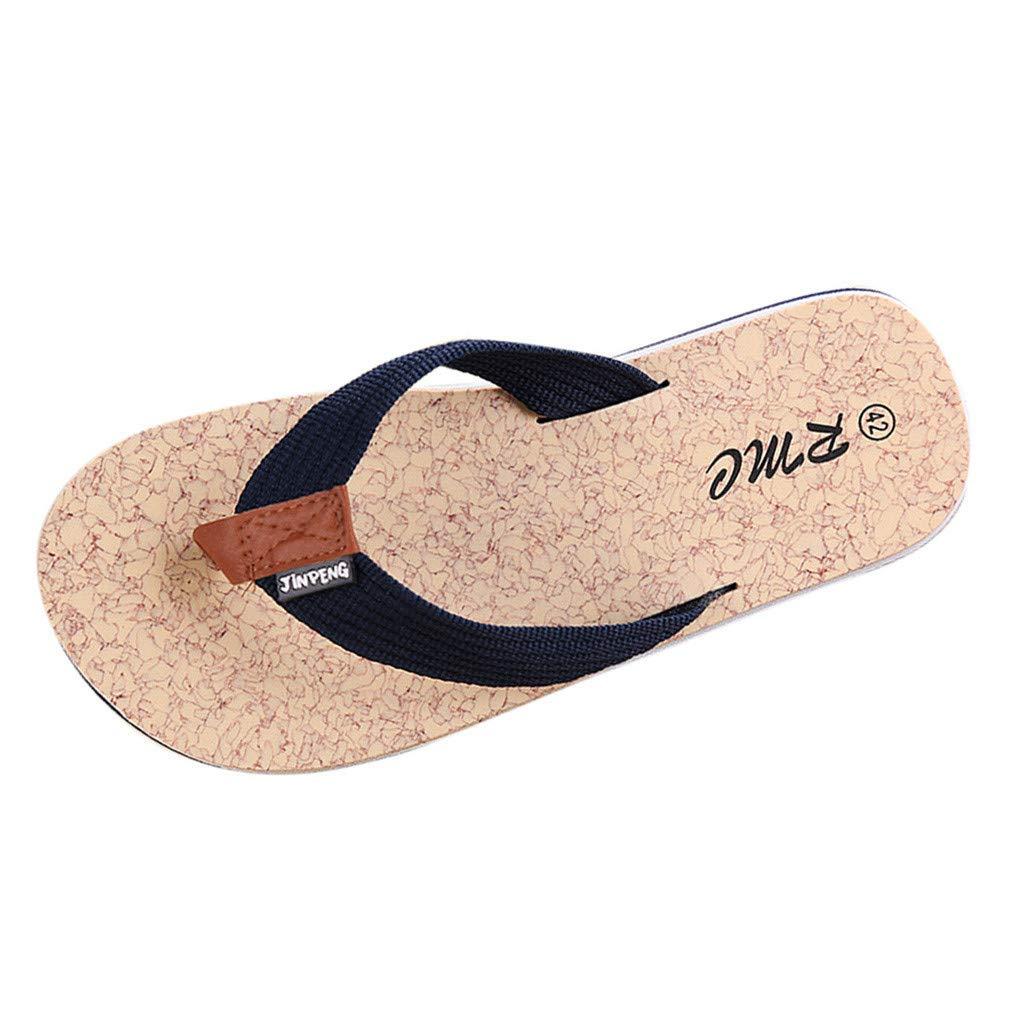 ZOMUSAR New! 2019 Men's Summer Beach Breathable Slippers Non-Slip Flip-Flops Flat Shoes Slippers Blue