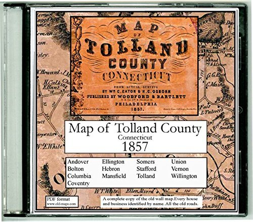 Map of Tolland County, Connecticut on CDROM - 1857 - With Homeowner Names, Old Roads, Place names - Great for genealogy! PDF format - Tolland County Map