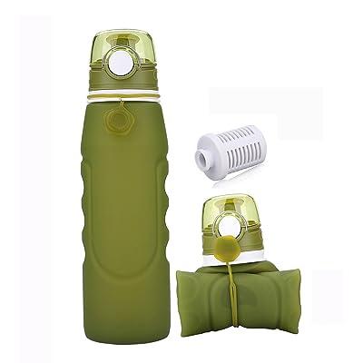 1Litre Bouteille D'eau Pliable et Portable Pour, Sans BPA, FDA Approuvé Les Activités Extérieures,Voyage,Camping, Randonnée,Yoga Gris, Gym(Vert)