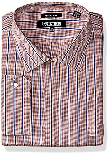 Stacy Adam's Men's Big and Tall Mini Check w/Dobby Stripe Classic Fit Dress Shirt, Rust, 19