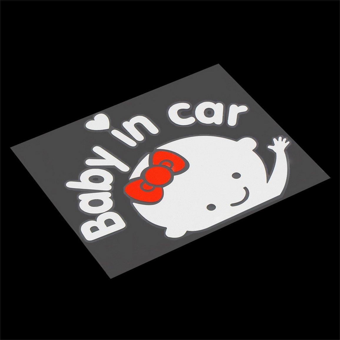 Creativo 17 Color: gris y blanco 14 cm Beb/é a bordo Beb/é en el coche Etiqueta engomada del coche Etiqueta reflectante impermeable del coche en el parabrisas trasero