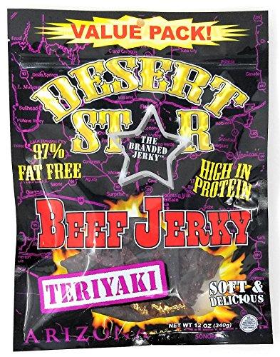 Desert Star TERIYAKI Beef Jerky 80 Calorie HUGE 12 Ounce Value -