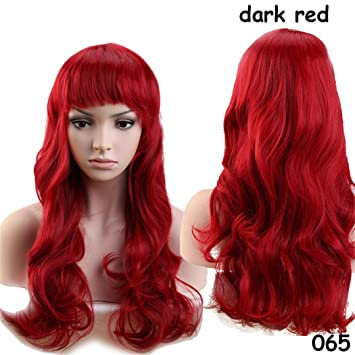 Long Wavy Cosplay Red Green Puprle Pink Black Blue Sliver Gray Blonde Brown Synthetic Hair Wigs