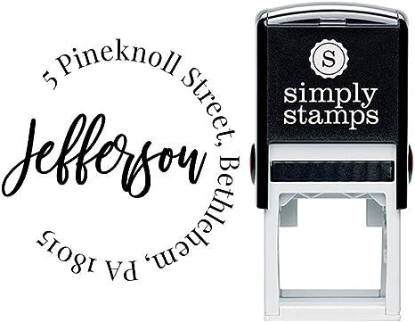 Custom Monogram Address Stamp Brush Script Custom Return Address Stamp Self Inking Stamp Personalized Address Stamps