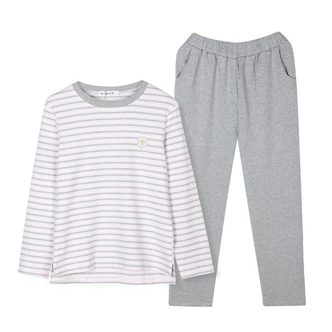 Wangs Pijama - Rayas - Manga Larga - para mujer Rosa Small