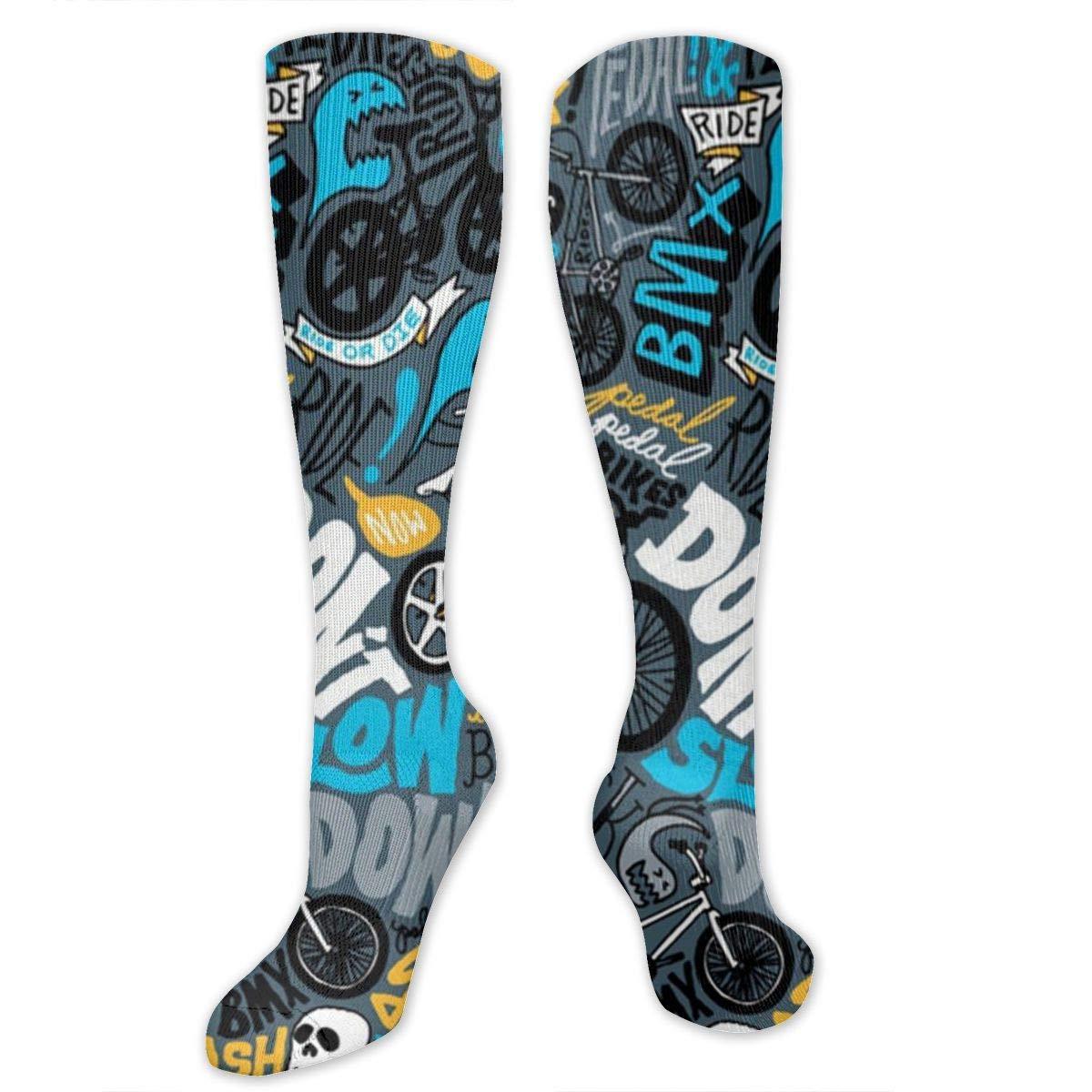 Starballest BMX Pattern Socks for Women Tube Socks Thermal Socks