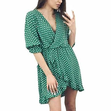 62a9394b0ef Summer Dress DIKEWANG Ladies Sexy Casual Wave Point Print Half Sleeve Mini Dress  Beach Dress Party Dress  Amazon.co.uk  Clothing