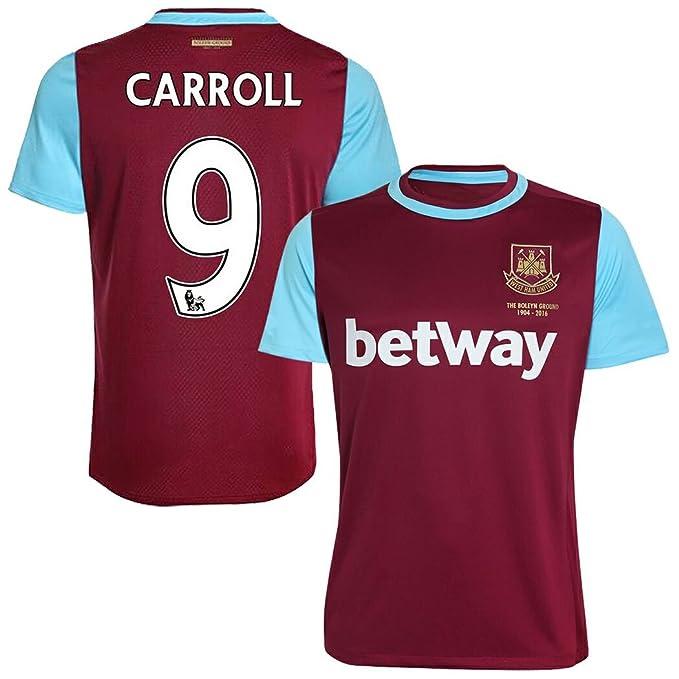 FC Camiseta de Fútbol West Ham United # 9 Carroll casa Fútbol Jersey Rojo Vino, Rojo: Amazon.es: Ropa y accesorios