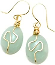 Light Blue-Green Amazonite Wire-Wrapped Gemstone Spiral Earrings with 14KT GF earwires 1.25-inch