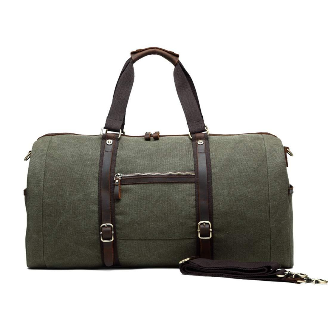 CeSuoLBD キャンバストラベルバッグ、旅行大容量ハンドバッグ、シングルショルダースキュー、多機能荷物袋、カジュアルメンズキャンバスメンズバッグ。 (色 : アーミーグリーン) B07QZX383M