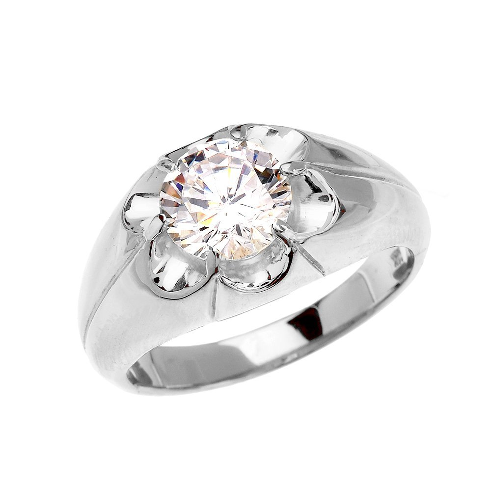 Men's Sterling Silver 4 Carat Cubic Zirconia Bold Solitaire Ring (Size 8)