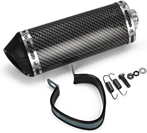 """Universal 1.5"""" Inlet Exhaust Muffler With Removable DB Killer Slip On Dirt Street Bike Motorcycle Scooter - Carbon Fiber Color"""