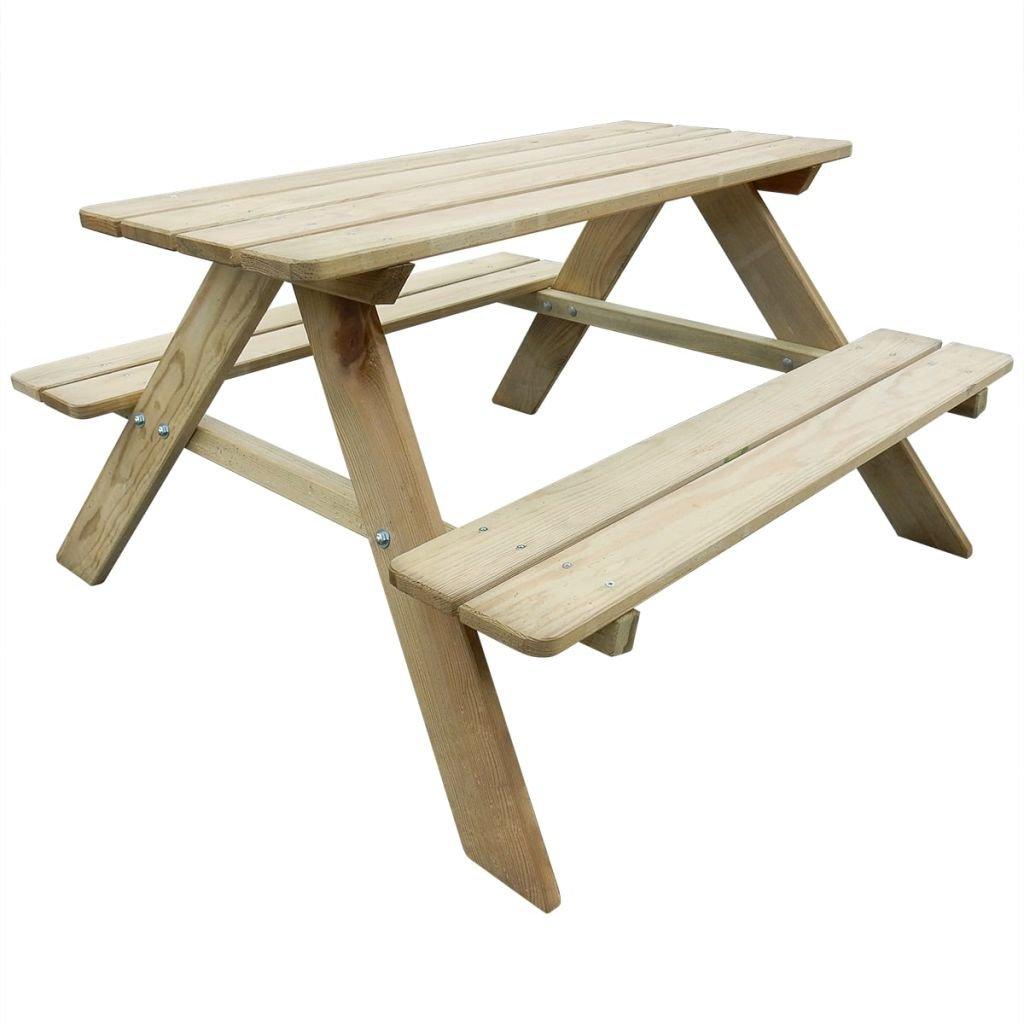Festnight Kinder Picknicktisch mit Bänken Gartentisch Garnitur Tisch mit 2 Sitzbänken Sitzgruppe 89 x 89,6 x 50,8 cm Kiefernholz