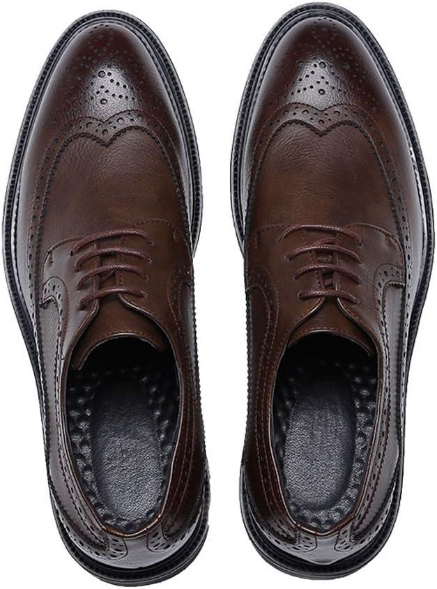 Z.H.QQHZ Shoes Mens Business Brogue Shoes PU Leather Upper Lace Up Wingtip Decoration Breathable Outsole Leather Shoes Color : Brown, Size : 9 M US