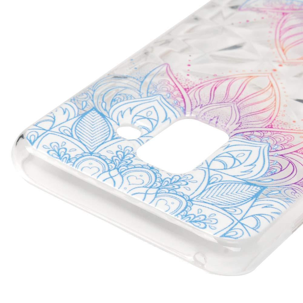 Motif Bleu LaVibe /Étui Gel Silicone TPU Anti-Chute Transparant Embosser Protecteur Housse Anti-Rayures Pare-Chocs Bumper Souple Ultra Slim Flexible Soft Case Cover Coque Samsung Galaxy A8 2018