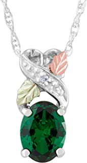 product image for Black Hills Gold on Silver Emerald & Diamond Pendant