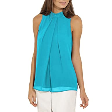 06d665ecd383d2 Z Women Casual Solid Color Chiffon Top Shirts Pleated Sleeveless Cut Out  Corp Tops Blouse: Amazon.co.uk: Clothing
