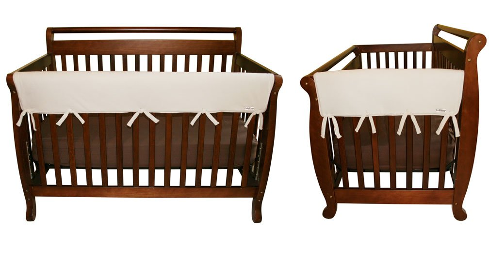 CribWrap Crib Wrap 3PC Rail Cover Set By Trend Lab - 1- 51'' Front Rail Cover and 2- 27'' Side Rail Covers, Natural Fleece