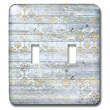 3dRose Anne Marie Baugh - Patterns - Chic Faux Gold Faded Damask On A Printed Faux Blue Wood Pattern - Light Switch Covers - double toggle switch (lsp_283309_2)