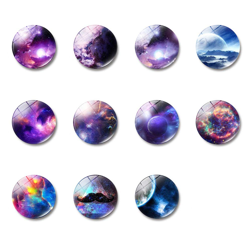 Mary Paxton 11PACK Starry Sky Refrigerator Magnets,Planetary Fridge Magnet Crystal Glass Sticker Decor For Refrigerator Office Cabinets Whiteboards Photo Nebula Galaxy Universe Home Decorations Gift