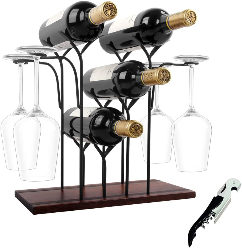 Wine Rack Countertop, Hold 4 Bottles and 4 Glasses, Wooden Wine Holder Shelf, Perfect for Home & Kitchen Decor, Bar, Wine Cellar, Cabinet, Pantry, Come with Wine Opener