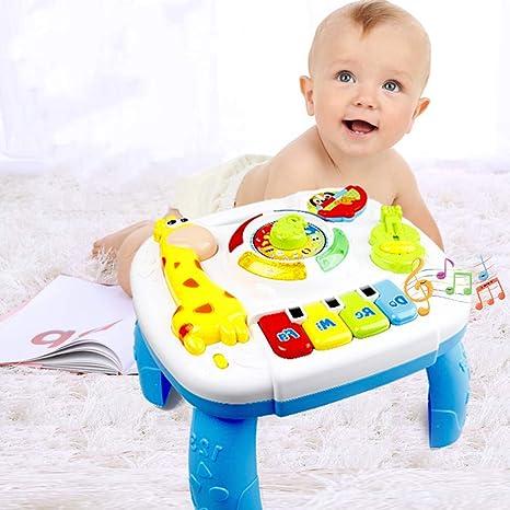 WXX Mesa de Aprendizaje Musical, Centro de educación temprana, Mesa de Juegos para bebés de pie, Mesa de Actividades para niños 1 2 3 4 niños de 5 años, música e iluminación: