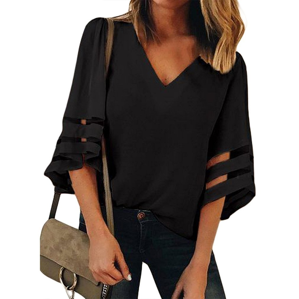 Women V Neck 3/4 Bell Sleeve Casual Lace Patchwork Blouses Loose Shirt Tops Black M